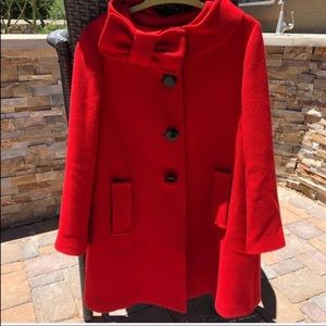 Kate Spade Red Bow Suzette Spot On Lacquered Coat